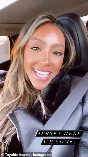 Parent encounter: Tayshia later took to Instagram Story from the passenger seat of their car, on her way to see his family in Jersey