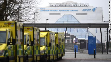 Ambulances parked outside NHS Nightingale Hospital at ExCel Center in East London on January 1, 2021.