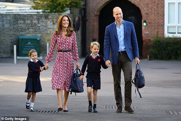 Prince William revealed that his patience was tested while teaching his children at home in his first lockdown, and that he struggled to teach mathematics in his sophomore year.  Filmed, on the right, in September 2019 with Princess Charlotte (left), Kate (second on the left), and Prince George (second on the right) as the Royal Children attended their first school day of the year.