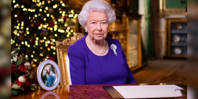 In this undated photo released on Friday 25 December 2020, Queen Elizabeth II records her annual Christmas broadcast at Windsor Castle, Windsor, England.