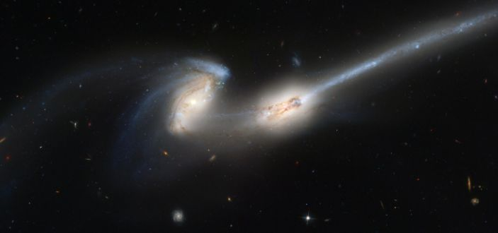 Collision of galaxies collision of tidal galactic mice