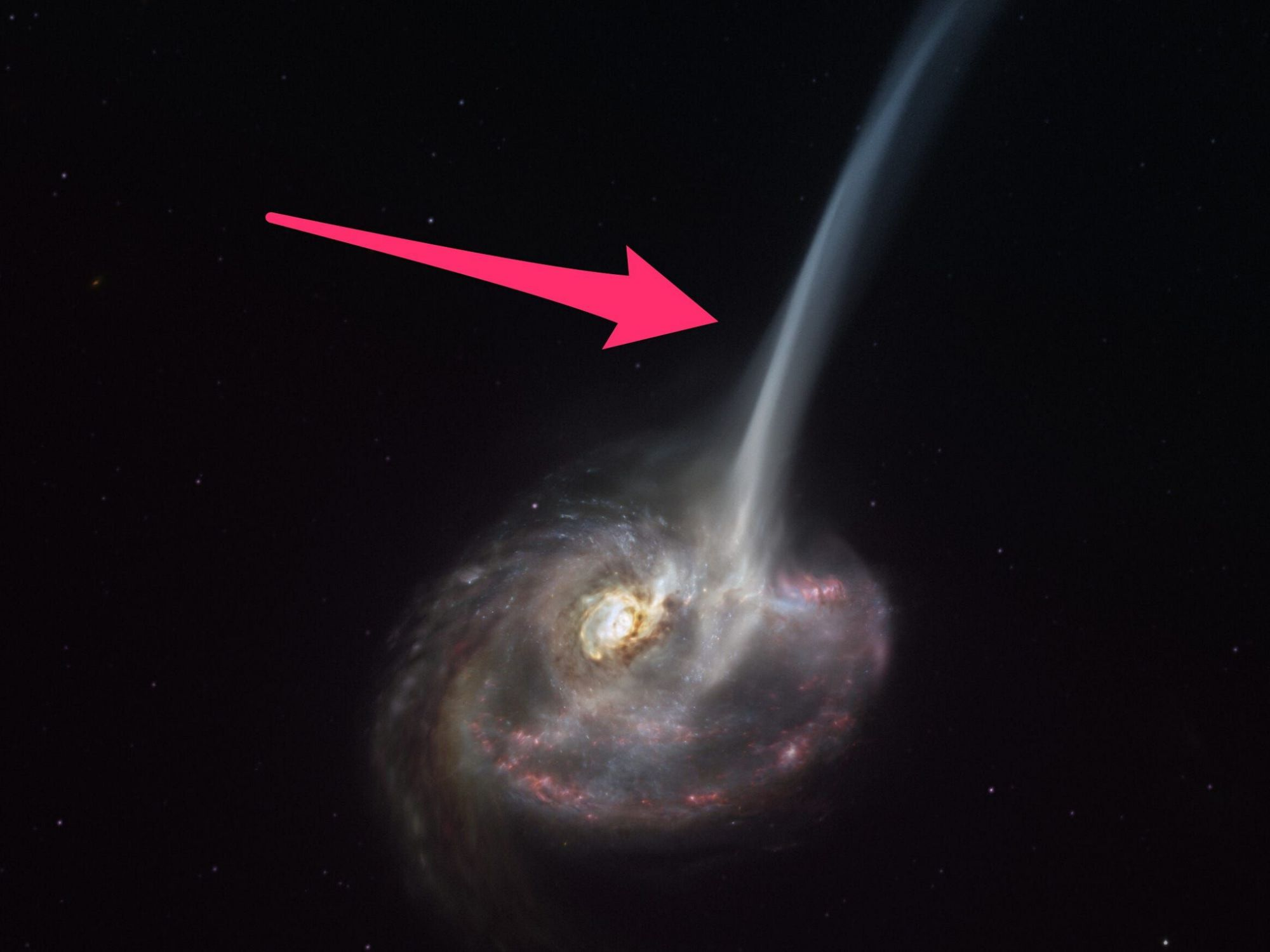 Astronomers discovered a dying galaxy after its great collision.  It bleeds 10,000 suns worth of gas every year.
