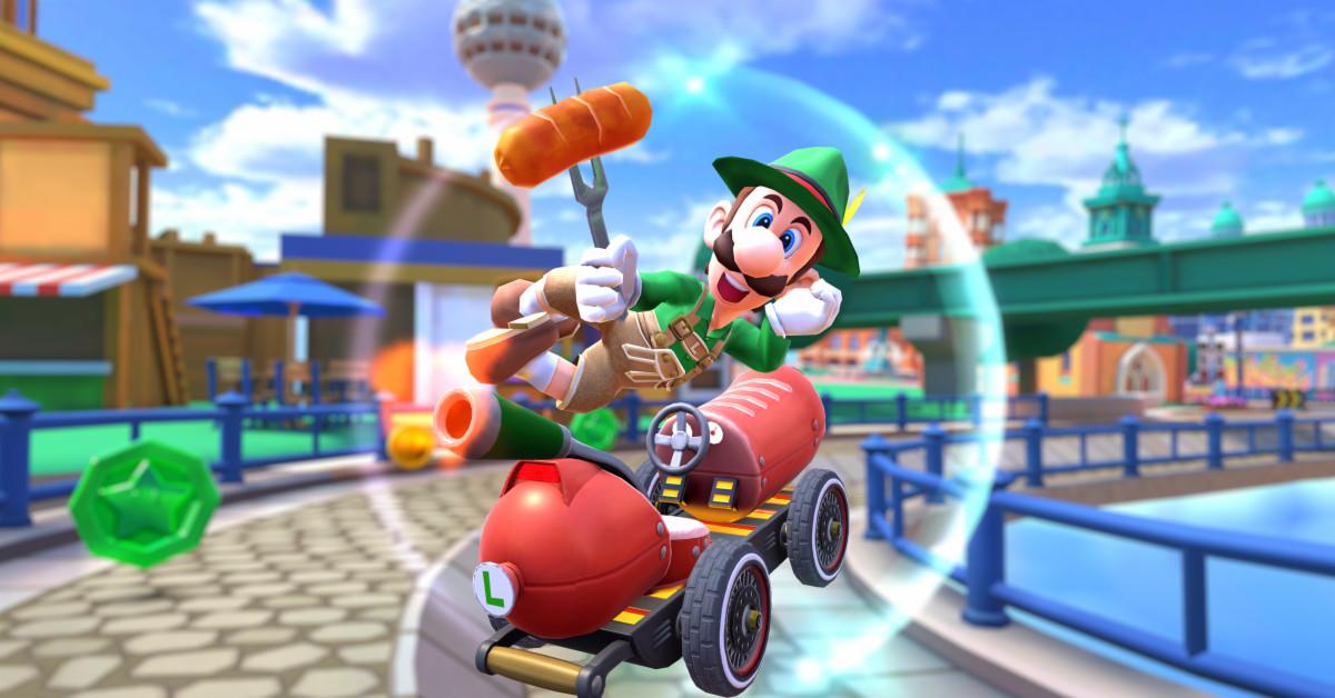 Mario Kart Tour Lederhosen adds Luigi as he rides on a hot dog